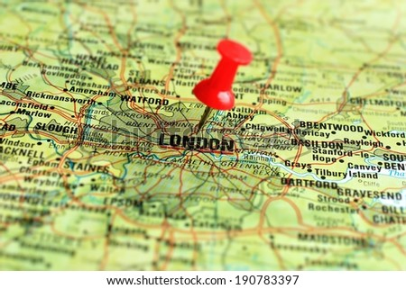 Close up of London on a map with selective focus                - stock photo