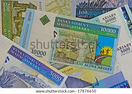 Close up of madagascar currency - stock photo