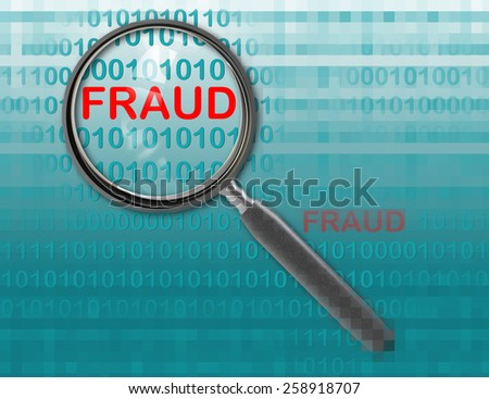 Close up of magnifying glass on fraud - stock photo