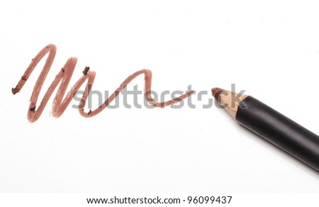 Close up of Make up pencil over white - stock photo