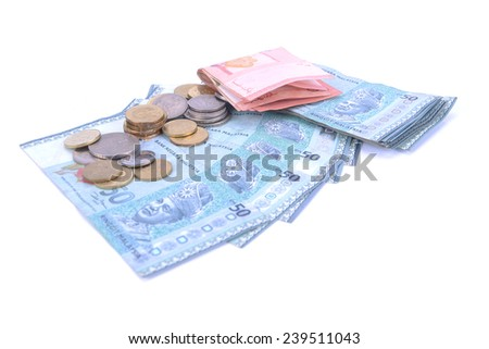 close up of Malaysian currency. - stock photo