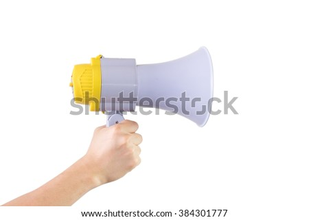 Close up of male hand holding megaphone isolated white background with clipping path - stock photo