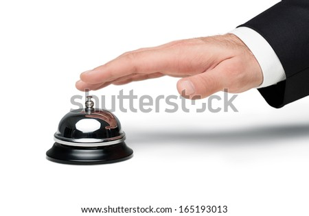 Close up of male hand pressing a service bell isolated on white  background - stock photo