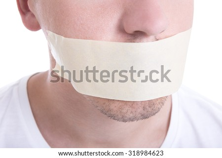 close up of male mouth with tape isolated on white background - stock photo
