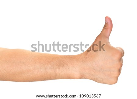 Close up of man hand showing thumbs up sign isolated on white background - stock photo