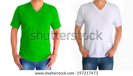 close up of man in blank V-neck short sleeve green white t-shirt - stock photo