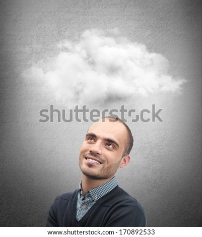 Close up of man looking up for thought bubble above his head with copy space - stock photo