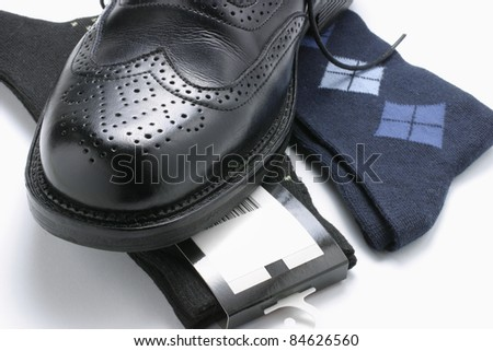 Close Up of Man's Shoe and Socks - stock photo