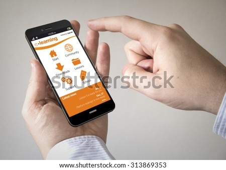 Close up of man using 3d generated mobile smart phone with e-learning site on the screen. Screen graphics are made up. - stock photo