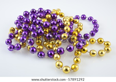 Close up of mardis gras beads - stock photo