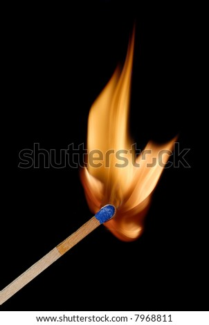 Close-up of match and flame after being struck. - stock photo