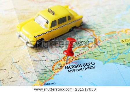 Close up of  Mersin ,Turkey  map with red pin    - Travel concept - stock photo