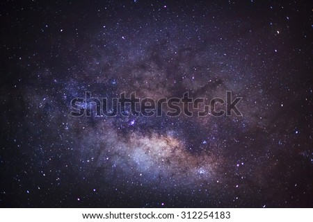 Close-up of Milky Way,Long exposure photograph, with grain - stock photo