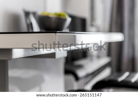 Close up of modern black and white table - stock photo