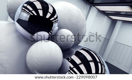 close up of modern monochrome art room with abstract exhibit  - stock photo