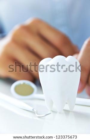 close up of molar,dental concept - stock photo