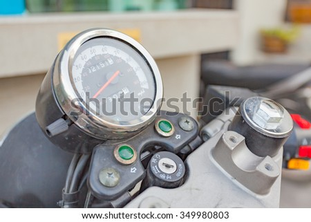 Close up of Motorcycle Speedometer - stock photo