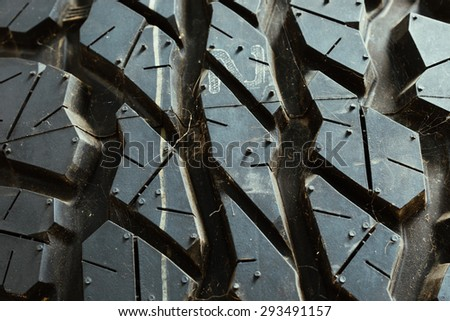 Close up of Mud terrain car tires - stock photo