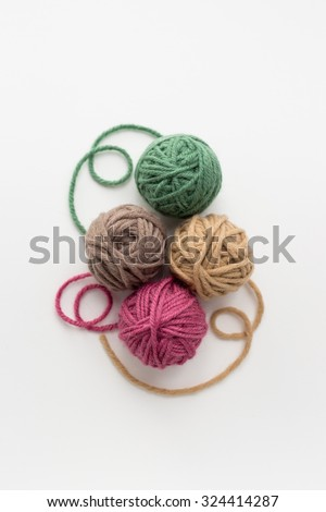 Close up of multicolor balls of yarn - stock photo