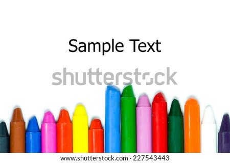 Close up of multicolor crayon pencils on white background - stock photo