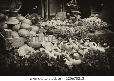 Close up of mushrooms on market stand. - stock photo