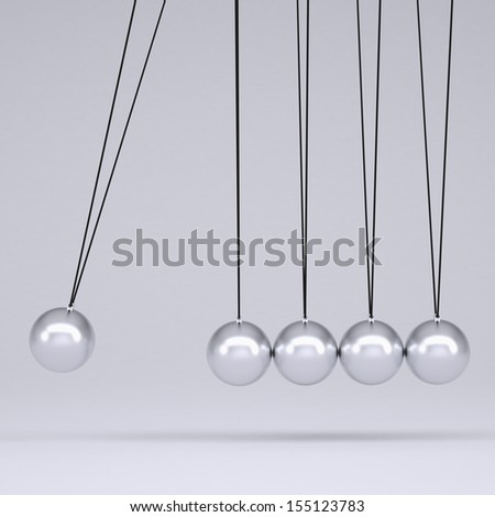 Close up of Newton's cradle. Isolated render on gray background - stock photo