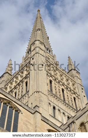 Close up of Norwich Cathedral spire - stock photo