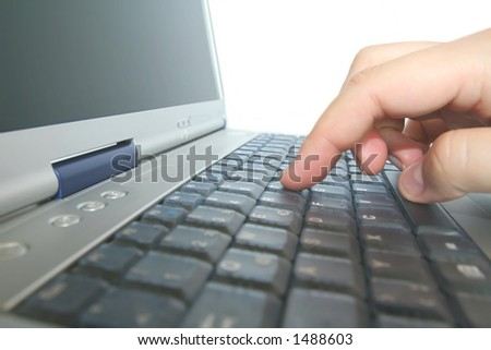 close-up of notebook/laptop - stock photo