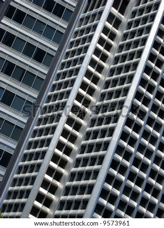 Close up of office building windows - stock photo