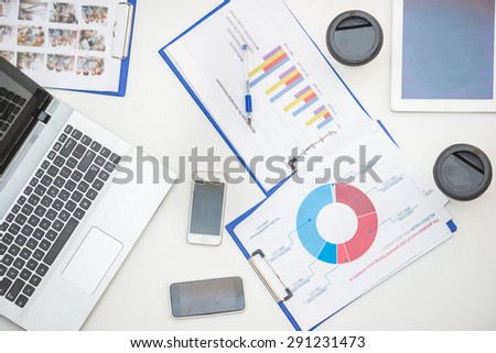 Close-up of office documents on the table. - stock photo