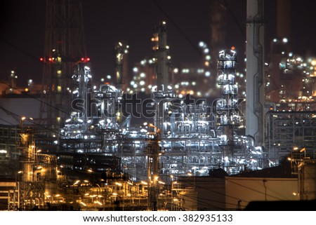 Close up of Oil and gas refinery plant area at twilight. - stock photo