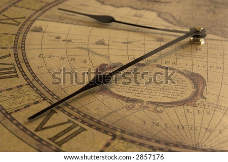 close up of old clock - stock photo