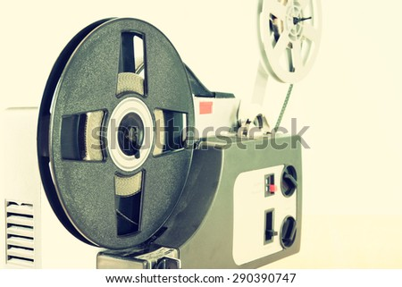 close up of old 8mm Film Projector part  - stock photo