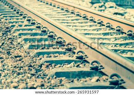 Close up of old railway track - stock photo