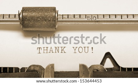 Close up of old typewriter with text thank you  - stock photo