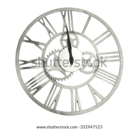 close up of old vintage clock with cog wheels isolated on white - stock photo