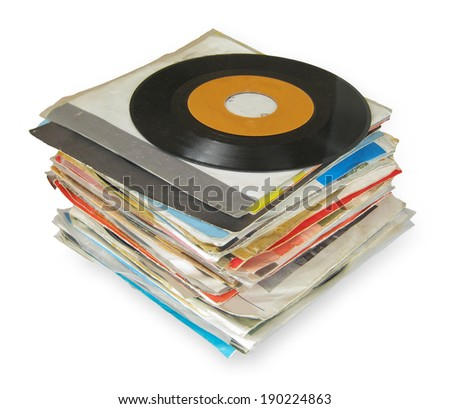 Close up of Old Vinyl Records isolated on white - stock photo