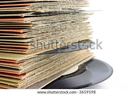 Close up of old Vinyl Records with deep  DOF - stock photo