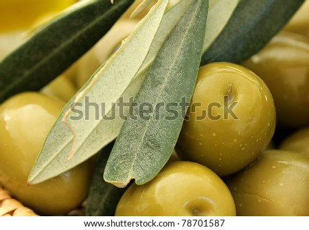 Close up of Olives . Olives background - stock photo
