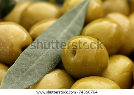 Close up of Olives . Olives background, shallow dof - stock photo