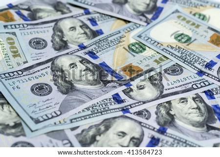 Close-up of One-hundred US Dollar bill as wealthy concept - stock photo