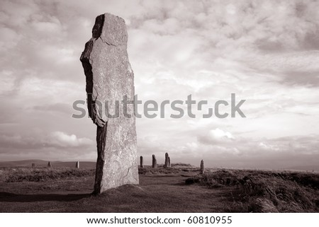 Close-up of one of the Stones in the Ring of Brodgar in the Orkney Islands in Scotland - stock photo