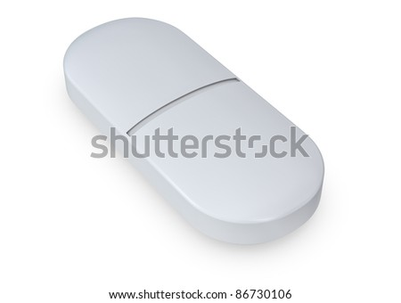 close up of one white pill (3d render) - stock photo