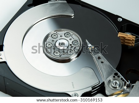 Close up of open computer hard disk drive HDD. - stock photo
