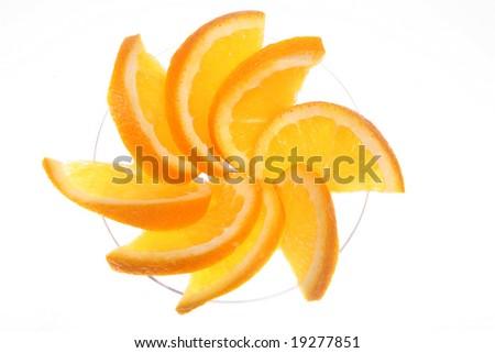 Close-up of orange slices in a martini glass - stock photo