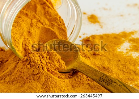 Close up of organic turmeric (curcuma) powder spilling out of glass jar with measuring spoon on white background - stock photo