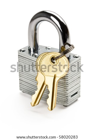 Close up of padlock and two gold keys isolated on white background. - stock photo