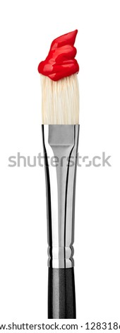 close up of paint brushes on white background - stock photo