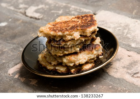 close up of  pancakes on a plate - stock photo