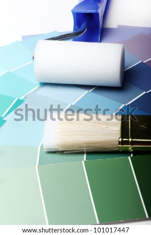 Close up of pantone color palette and other stuff - stock photo